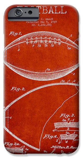 Technical iPhone Cases - Football Patent Drawing from 1939 iPhone Case by Aged Pixel