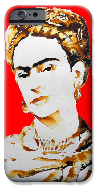 Painter Drawings iPhone Cases - Frida iPhone Case by Jose Espinoza