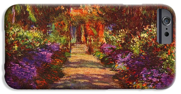 Garden Scene Paintings iPhone Cases - Garden at Giverny iPhone Case by Celestial Images