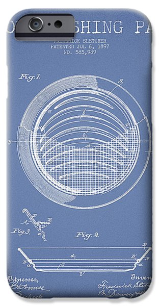 Gold Digital Art iPhone Cases - Gold Washing Pan Patent Drawing from 1897 iPhone Case by Aged Pixel
