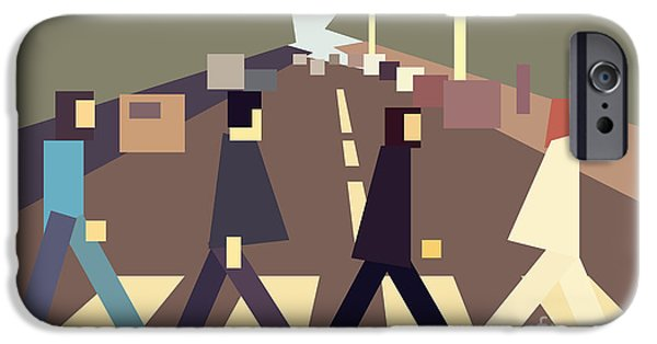 Interpretive iPhone Cases - 4 guys crossing Abbey Road iPhone Case by Igor Kislev