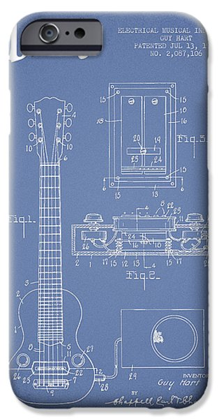 Recently Sold -  - Technical iPhone Cases - Hart Gibson electrical musical instrument patent Drawing from 19 iPhone Case by Aged Pixel