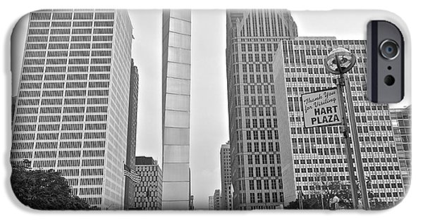 Harts iPhone Cases - Hart Plaza Detroit iPhone Case by Frozen in Time Fine Art Photography