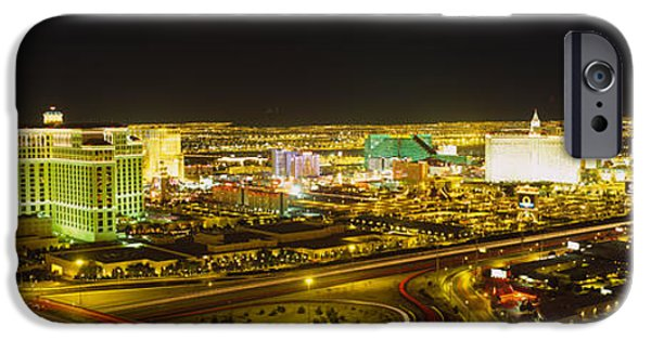 Business iPhone Cases - High Angle View Of Buildings Lit iPhone Case by Panoramic Images