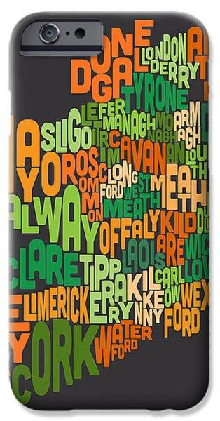 Ireland iPhone Cases - Ireland Eire County Text Map iPhone Case by Michael Tompsett
