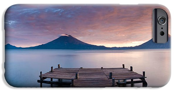 Santa Cruz Pier iPhone Cases - Jetty In A Lake With A Mountain Range iPhone Case by Panoramic Images