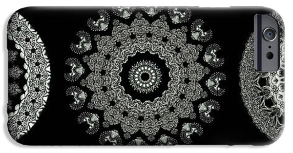 Monotone iPhone Cases - Kaleidoscope Ernst Haeckl Sea Life Series Black and White Set 2  iPhone Case by Amy Cicconi