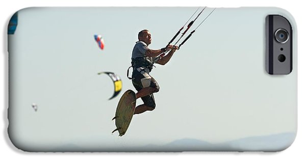 Wet Suit iPhone Cases - Kitesurfing Tarifa, Cadiz, Andalusia iPhone Case by Ben Welsh