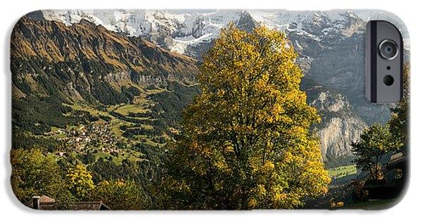 Mountain iPhone Cases - Lauterbrunnen Valley With Mt Eiger iPhone Case by Panoramic Images