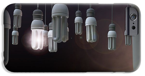 Electrical iPhone Cases - Leadership Hanging Lightbulb iPhone Case by Allan Swart
