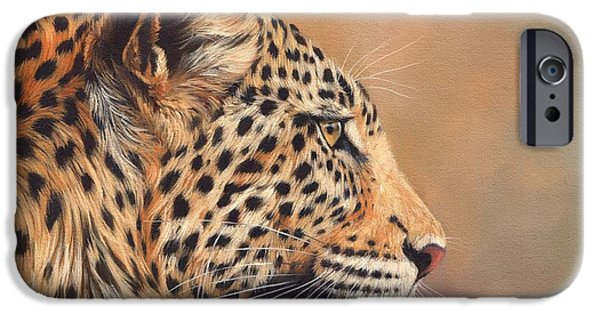 David iPhone Cases - Leopard iPhone Case by David Stribbling