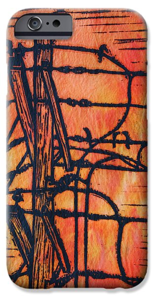 Lino Drawings iPhone Cases - Lines and Birds iPhone Case by William Cauthern