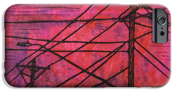 Powerlines Drawings iPhone Cases - Lines iPhone Case by William Cauthern