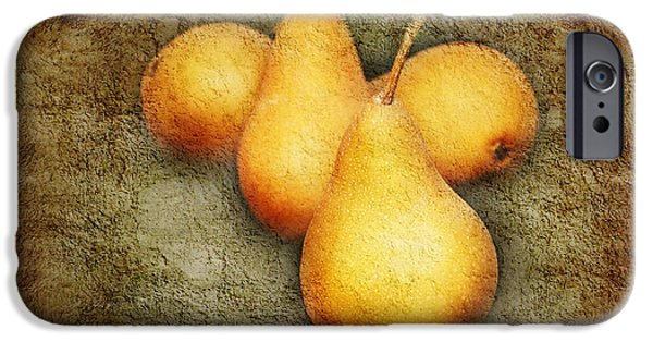 Pears Mixed Media iPhone Cases - 4 Little Pears Are We iPhone Case by Andee Design