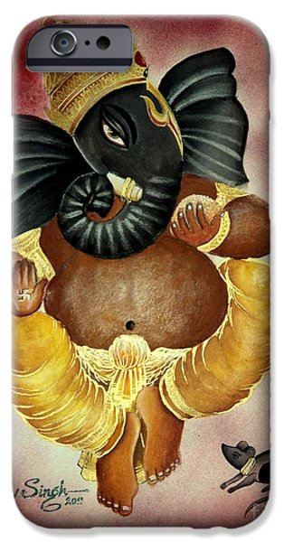 Religious Drawings iPhone Cases - Lord Ganesha iPhone Case by Tanmay Singh