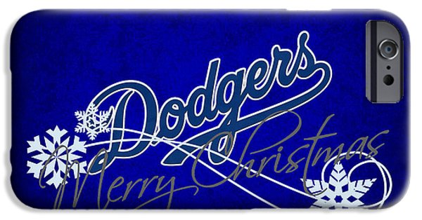 Christmas Greeting iPhone Cases - Los Angeles Dodgers iPhone Case by Joe Hamilton