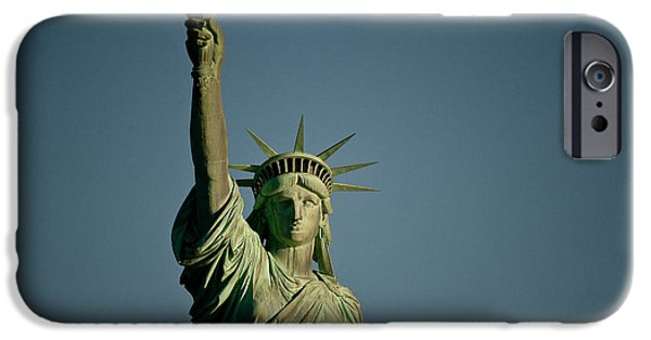 Freedom iPhone Cases - Low Angle View Of A Statue, Statue Of iPhone Case by Panoramic Images
