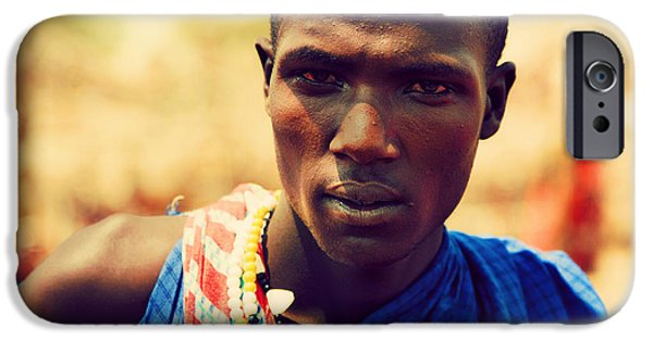 East Village iPhone Cases - Maasai man portrait in Tanzania iPhone Case by Michal Bednarek