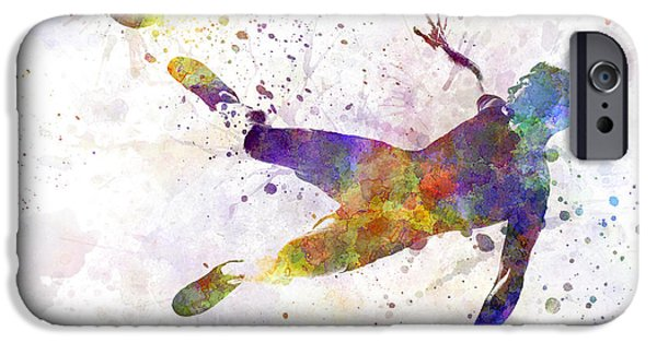 Cut-outs Paintings iPhone Cases - Man Soccer Football Player Flying Kicking iPhone Case by Pablo Romero