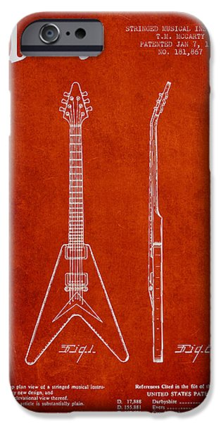 Mccarty Gibson Electric guitar patent Drawing from 1958 - Red iPhone Case by Aged Pixel