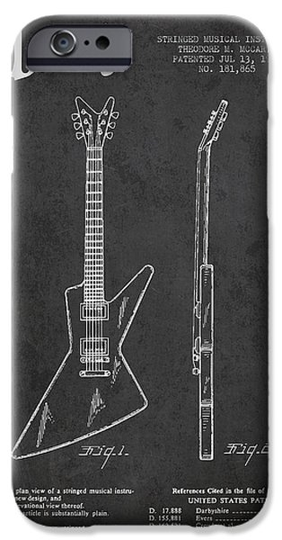 Technical iPhone Cases - McCarty Gibson electrical guitar patent Drawing from 1958 - Dark iPhone Case by Aged Pixel