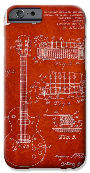 Strings Digital iPhone Cases - Mccarty Gibson Les Paul guitar patent Drawing from 1955 - red iPhone Case by Aged Pixel