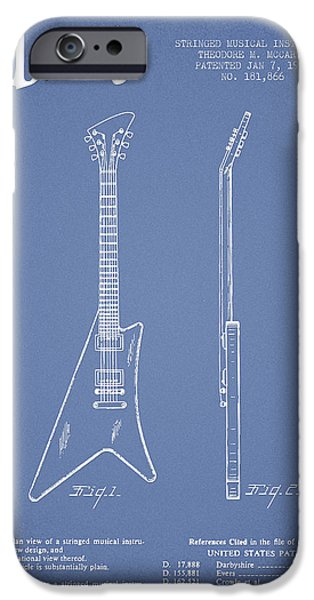 McCarty Gibson stringed instrument patent Drawing from 1958 - Light Blue iPhone Case by Aged Pixel