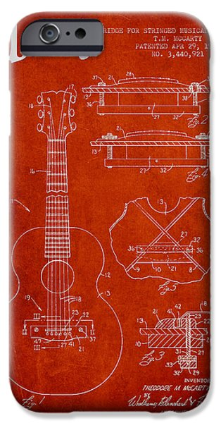 Mccarty Gibson stringed instrument patent Drawing from 1969 - Red iPhone Case by Aged Pixel