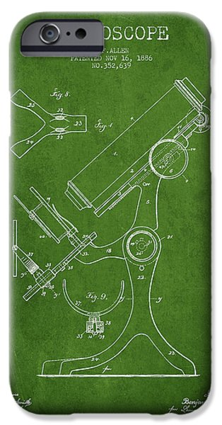 Microscope iPhone Cases - Microscope Patent Drawing From 1886 - Green iPhone Case by Aged Pixel