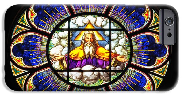 Stained Glass Glass Art iPhone Cases - Monastery Stained Glass iPhone Case by Mountain Dreams