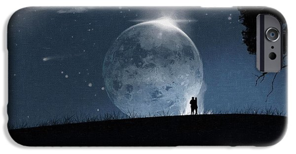 Screen Print iPhone Cases - Moon Painting Print iPhone Case by Victor Gladkiy