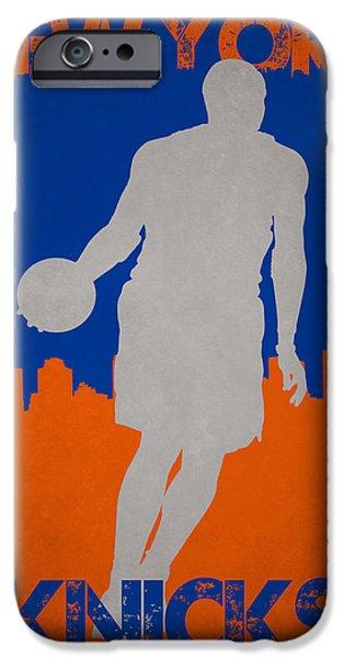 Carmelo Anthony iPhone Cases - New York Knicks iPhone Case by Joe Hamilton