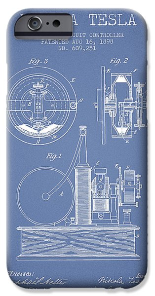 Technical iPhone Cases - Nikola Tesla Electric Circuit Controller Patent Drawing From 189 iPhone Case by Aged Pixel