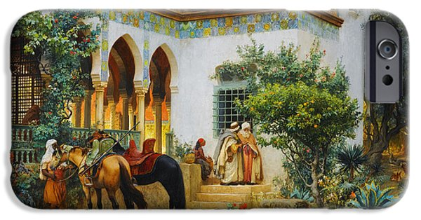 Sahara Sunlight iPhone Cases - Ottoman daily life scene iPhone Case by Celestial Images