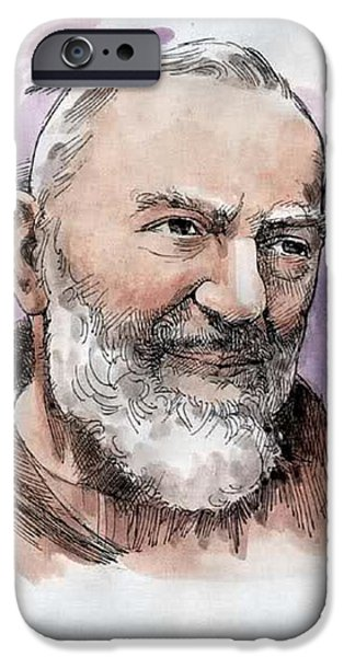 Etc. Drawings iPhone Cases - Padre Pio iPhone Case by Matteo TOTARO