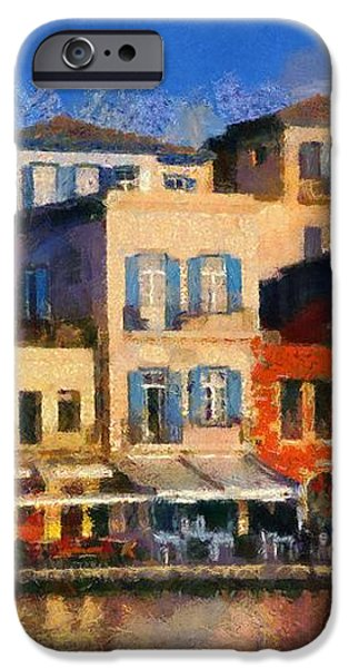 Painting of the old port of Chania iPhone Case by George Atsametakis