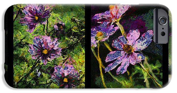 Asymmetrical iPhone Cases - 4 Panel Purple Flowers iPhone Case by Thomas Woolworth