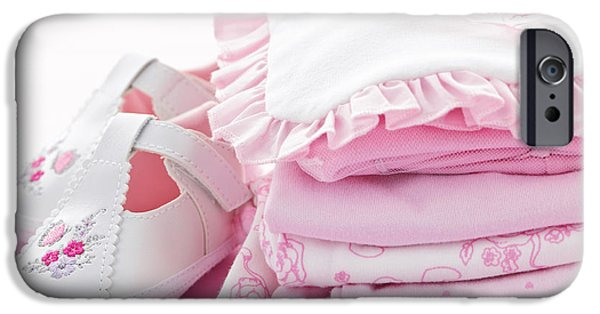 Little iPhone Cases - Pink baby clothes for infant girl iPhone Case by Elena Elisseeva