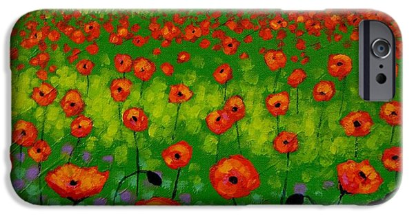 Landscape Posters iPhone Cases - Poppy Field iPhone Case by John  Nolan