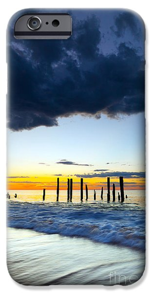 Ruin iPhone Cases - Port Willunga Sunset iPhone Case by Bill  Robinson