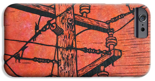 Linoluem Drawings iPhone Cases - Power Lines iPhone Case by William Cauthern