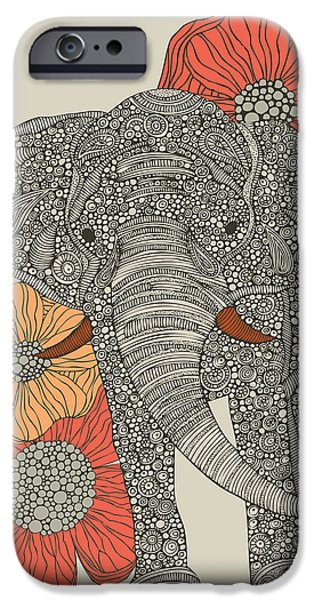 Elephants iPhone Cases - Print iPhone Case by Valentina