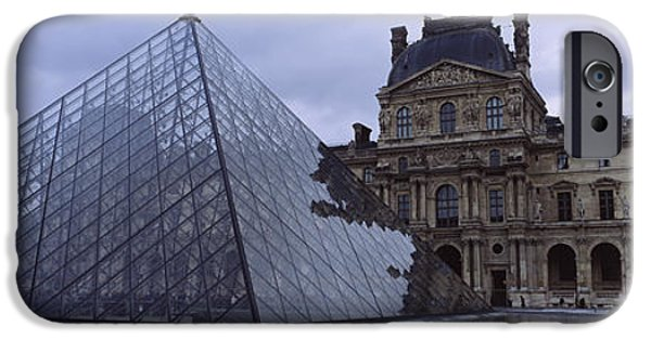 National Building Museum iPhone Cases - Pyramid In Front Of A Museum, Louvre iPhone Case by Panoramic Images