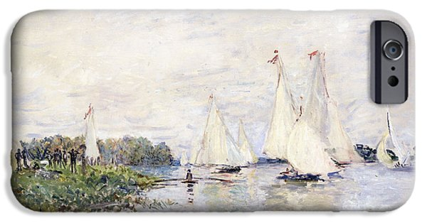 Water Vessels Paintings iPhone Cases - Regatta at Argenteuil iPhone Case by Claude Monet