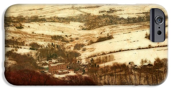 Harsh Conditions iPhone Cases - Remote farmland on the snow covered Yorkshire moors iPhone Case by Ken Biggs