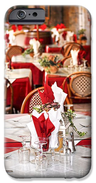 Furniture Photographs iPhone Cases - Restaurant patio in France iPhone Case by Elena Elisseeva