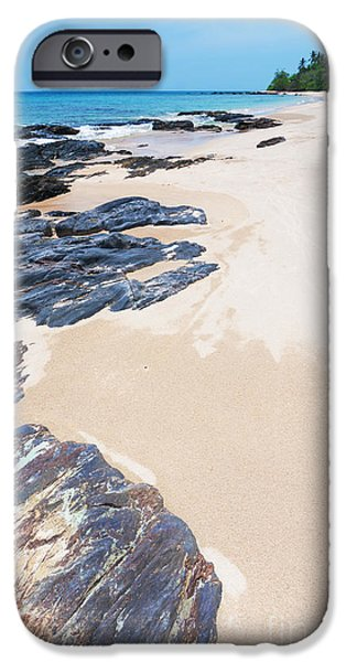 Enjoyment iPhone Cases - Rock Sand Sea And Sky iPhone Case by Atiketta Sangasaeng
