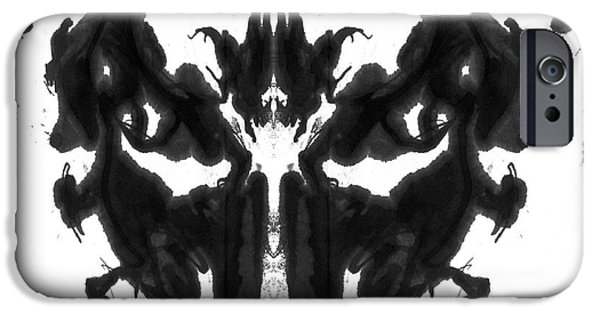 Psychology iPhone Cases - Rorschach Type Inkblot iPhone Case by Spencer Sutton
