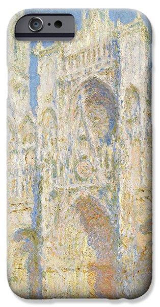 Facade iPhone Cases - Rouen Cathedral West Facade iPhone Case by Claude Monet