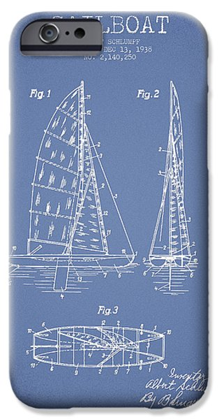Sailboat Digital Art iPhone Cases - Sailboat Patent Drawing From 1938 iPhone Case by Aged Pixel